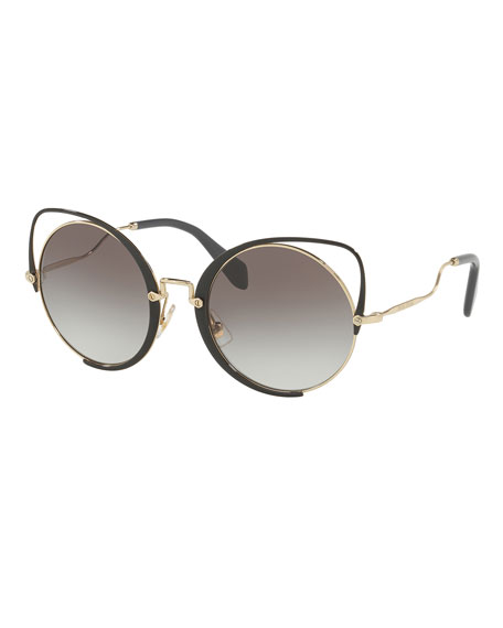 Cutout Cat-Eye Gradient Sunglasses, Noir