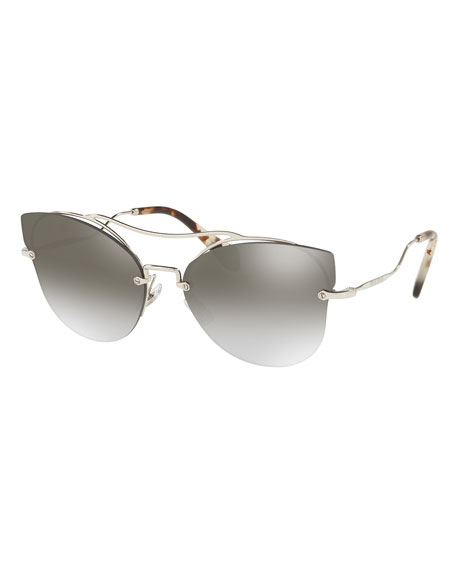 Miu Miu Scenique Rimless Monochromatic Brow-Bar Sunglasses, Smoke