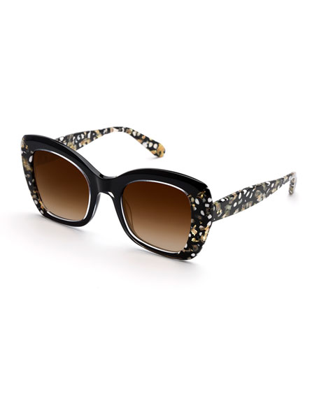 KREWE Felicity Contrast Acetate Butterfly Sunglasses