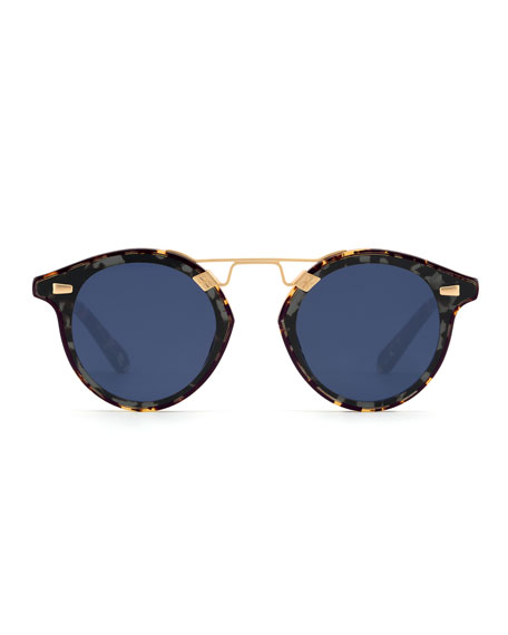 STL II Round Sunglasses w/ Nylon Overlay Lenses, Brown
