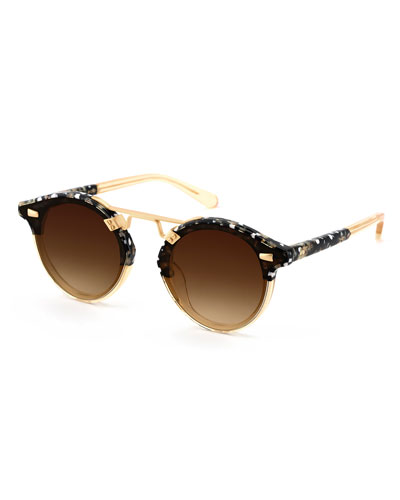 STL II Round Sunglasses w/ Nylon Overlay Lenses, Champagne