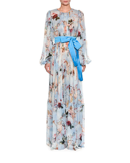Dolce & Gabbana Long-Sleeve Ribbon-Belt Cherub-Print Long Dress