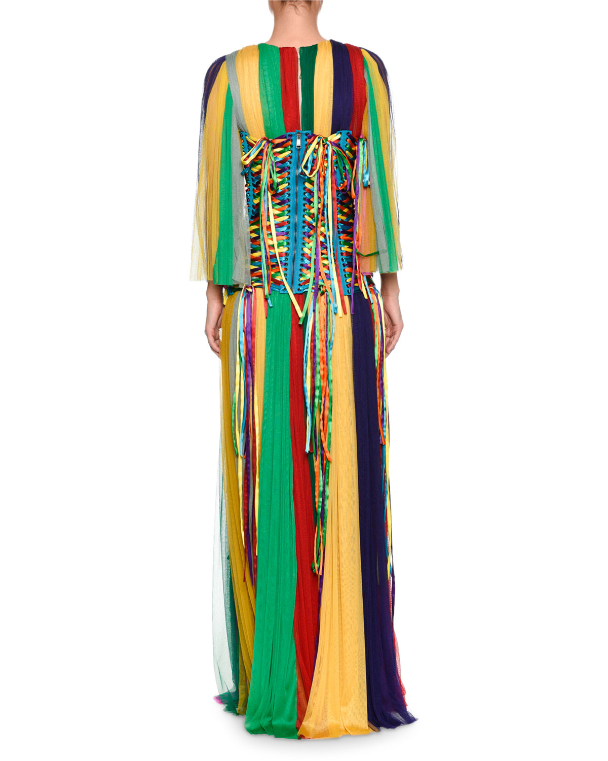 Dolce & Gabbana Long-Sleeve Rainbow-Striped Chiffon Gown and ...