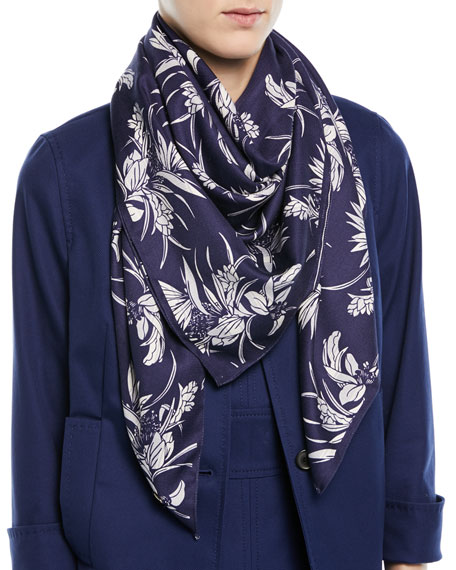 Tropical-Print Silk Satin Square Scarf