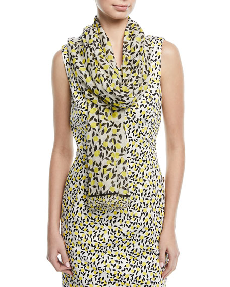 Lemon-Print Cotton-Silk Scarf
