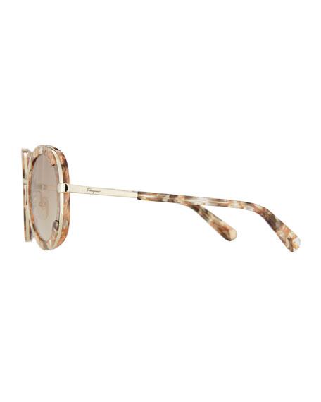 Angel Acetate & Metal Mirrored Round Sunglasses