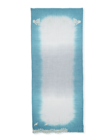 Ombré Lace-Trim Scarf, Blue