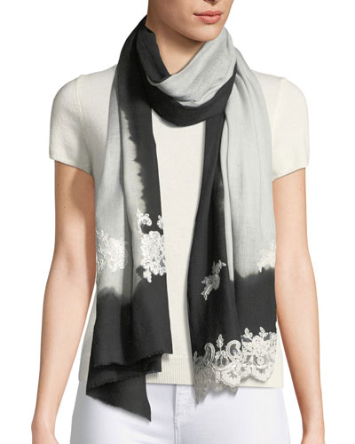 Ombré Lace-Trim Scarf, Black
