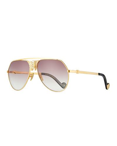 Miss Rosell Gradient Aviator Sunglasses w/ 3D Butterfly