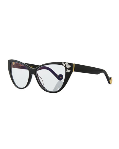 Lily Love Cat-Eye Optical Frames w/ Diamond Butterflies