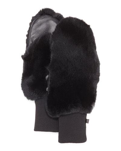 Rabbit Fur/Knit Mittens, Black