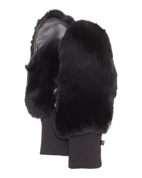 Rabbit Fur/Knit Mittens, Black