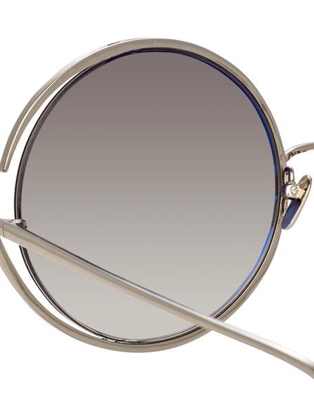 Round Open-Temple Mirrored Sunglasses, White Pattern