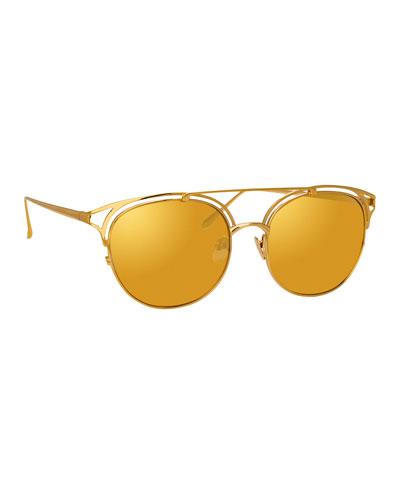 Mirrored Titanium Cutout Round Sunglasses