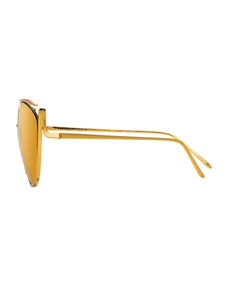Cat-Eye Open-Temple Mirrored Sunglasses, Yellow Pattern