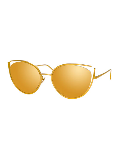 Cat-Eye Open-Temple Mirrored Sunglasses, Yellow Pattern