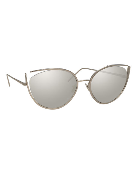 Linda Farrow Cat-Eye Open-Temple Mirrored Sunglasses, White