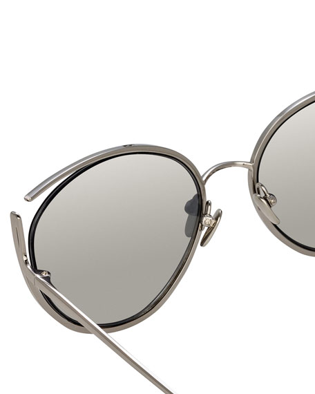 Cat-Eye Open-Temple Mirrored Sunglasses, White Pattern