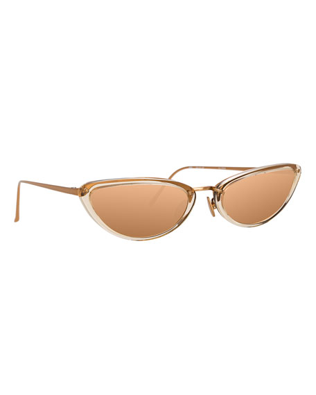 Linda Farrow Slim Two-Tone Cat-Eye Mirrored Sunglasses, Dark Beige
