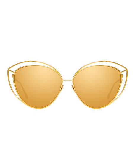 Open-Inset Cat-Eye Mirrored Sunglasses, Yellow Pattern