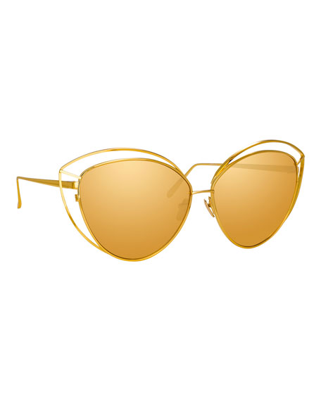 Linda Farrow Open-Inset Cat-Eye Mirrored Sunglasses, Yellow