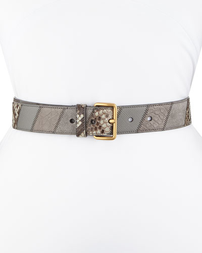 Patchwork Suede/Python/Crocodile Belt, Gray