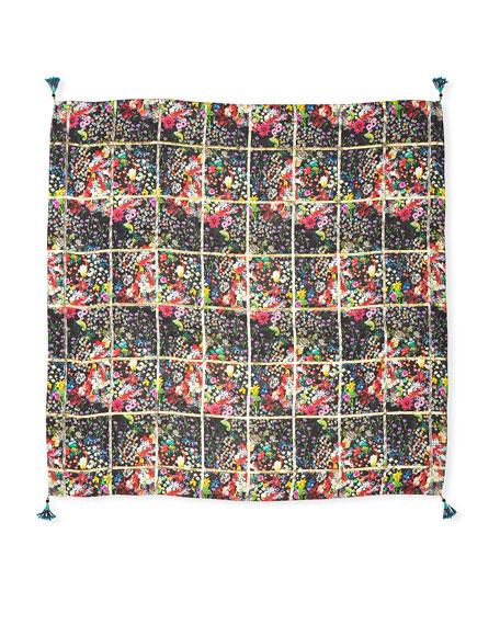 Micro Floral Metallic-Grid Scarf w/ Beaded Tassels