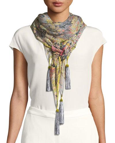 Bombay Square Metallic Silk Scarf w/ Tassels