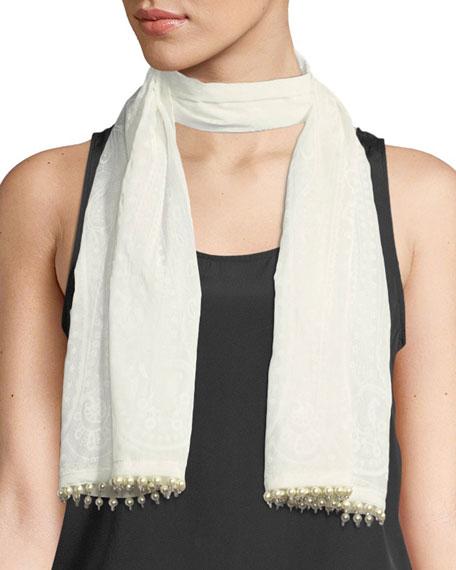 Calcutta Cotton/Silk Scarf with Beading