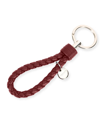 Braided Leather Loop Key Ring