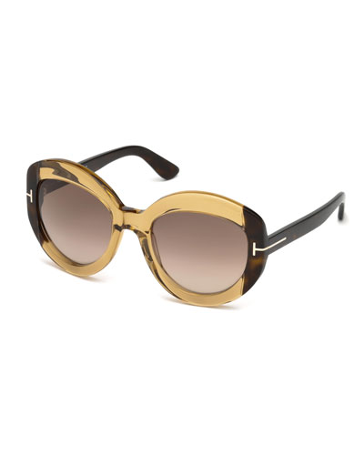 Bianca Two-Tone Acetate Gradient Sunglasses, Light Brown