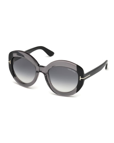 Bianca Two-Tone Acetate Gradient Sunglasses, Gray
