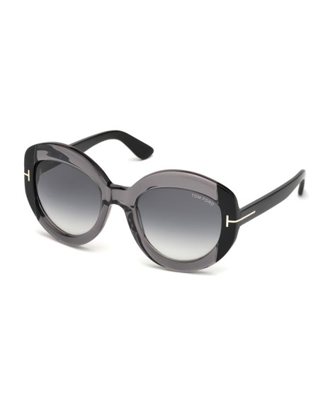 TOM FORD Bianca Two-Tone Acetate Gradient Sunglasses, Gray