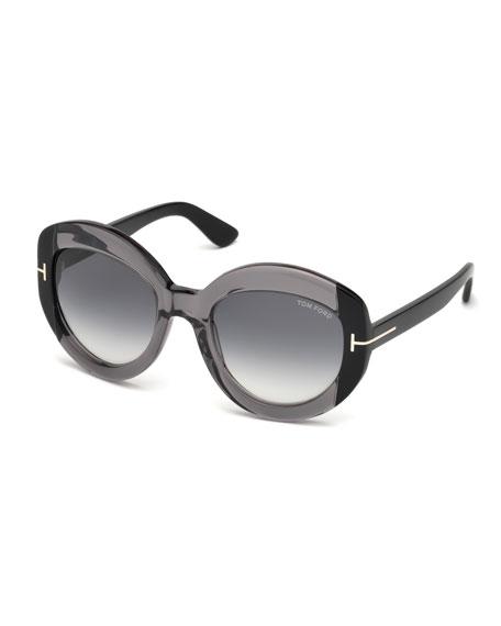 Bianca Two-Tone Acetate Gradient Sunglasses, Gray