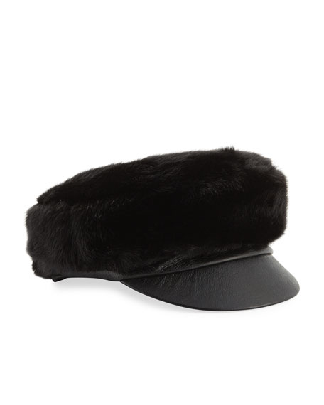 Therese Faux-Fur & Leather Army Hat