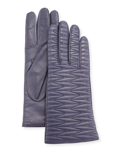 Leather Weave Quilted Gloves