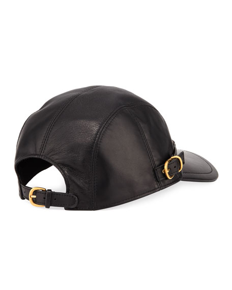 Leather Baseball Cap with Medusa Medalion