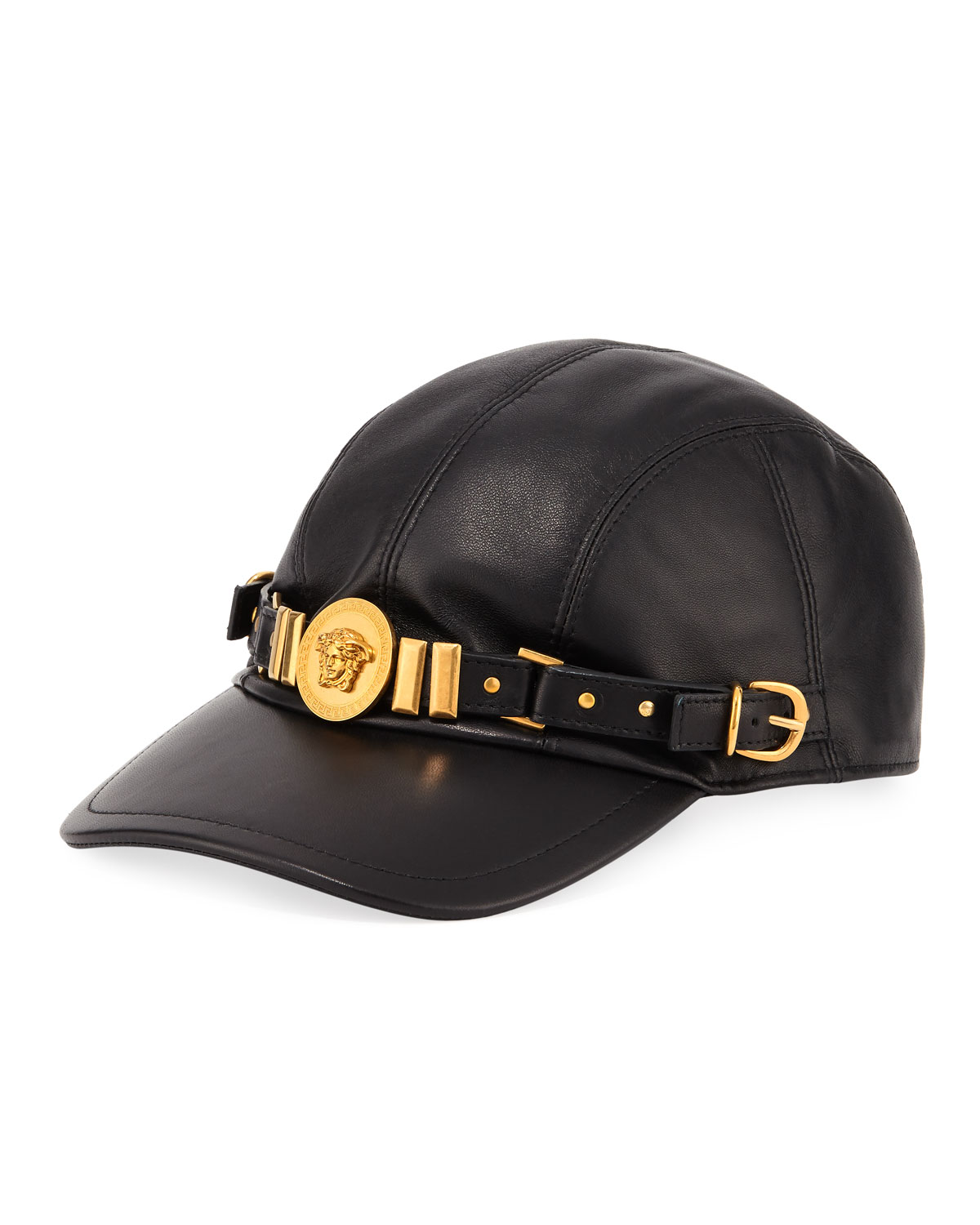 9701c074 Versace Collection Leather Baseball Cap with Medusa Medalion ...