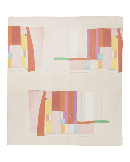 Mural-Print Silk Scarf