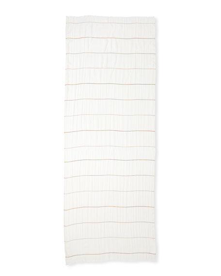 Cashmere-Cotton Lightweight Striped Scarf