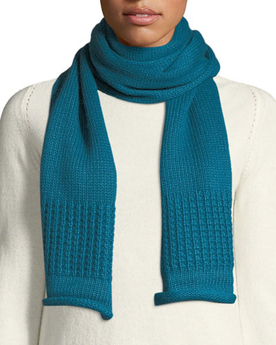 Mixed-Knit Cashmere-Blend Scarf
