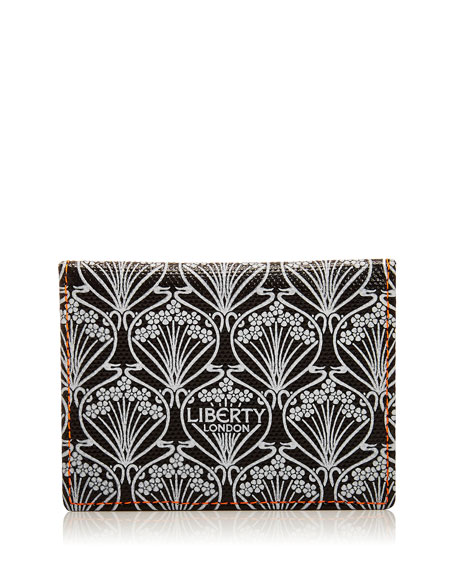 LIBERTY LONDON Neon Canvas Travel Card Case in Black