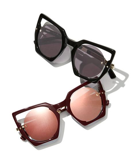 Mirrored Cat-Eye Cutout Sunglasses