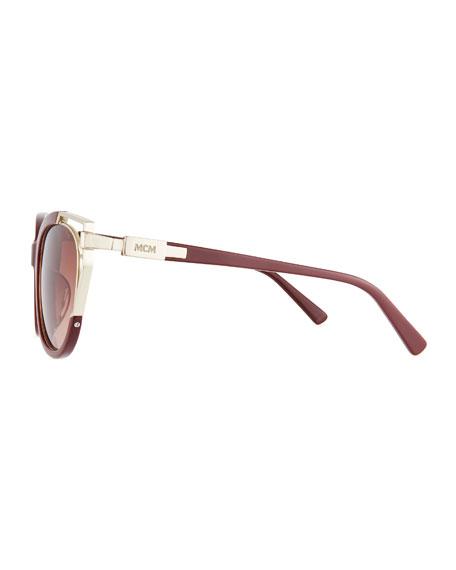 Acetate & Metal Cutout Cat-Eye Sunglasses