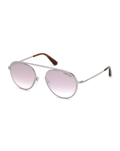 Keith Round Brow-Bar Metal Sunglasses, Brown/Silver