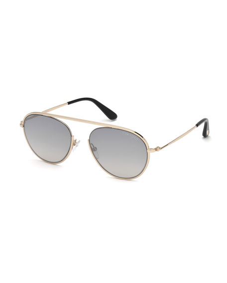 TOM FORD Keith Round Brow-Bar Metal Sunglasses, Smoke