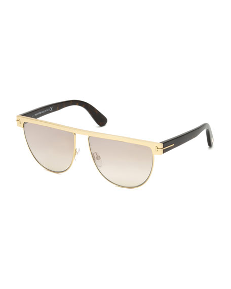 Stephanie Flat-Top Metal Sunglasses, Rose Gold/Flash Silver