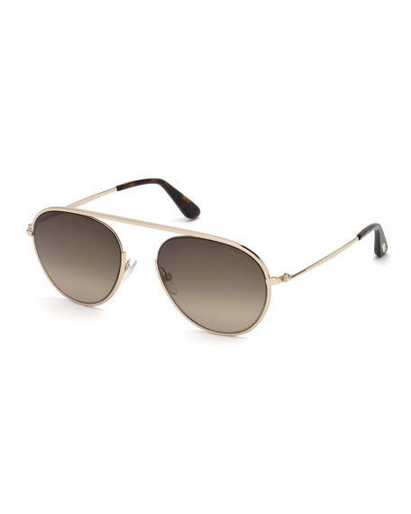 TOM FORD Keith Round Brow-Bar Metal Sunglasses, Rose