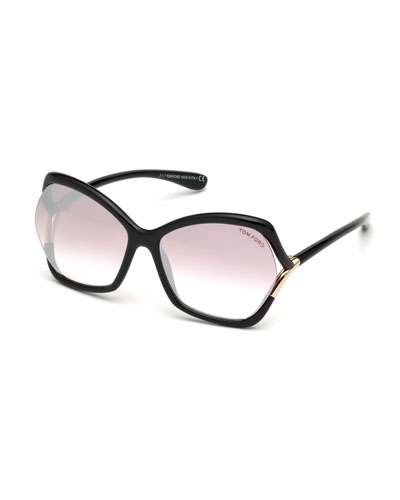 Astrid Gradient Butterfly Sunglasses, Black Pattern