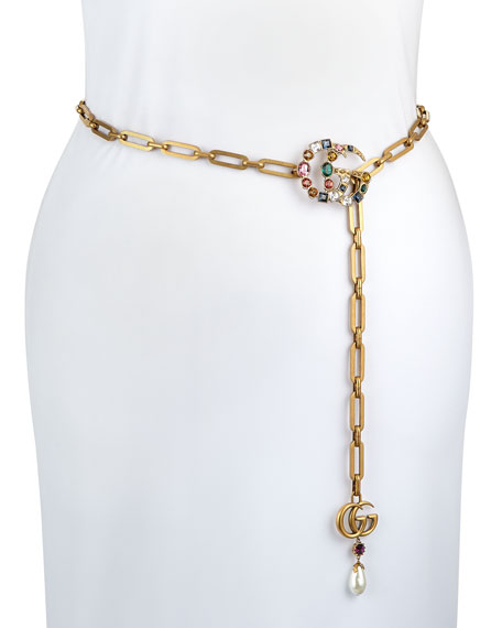 Gucci Crystal-Embellished Double-G Chain Belt